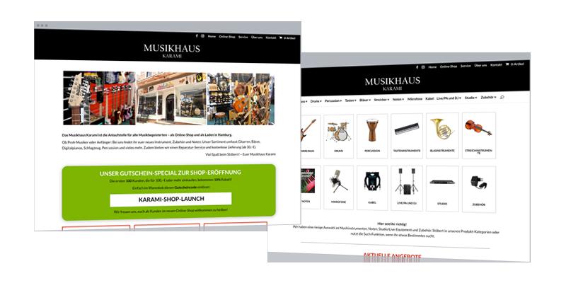 Web-Design: Online-Shop (WooCommerce) & Website Musikinstrumente