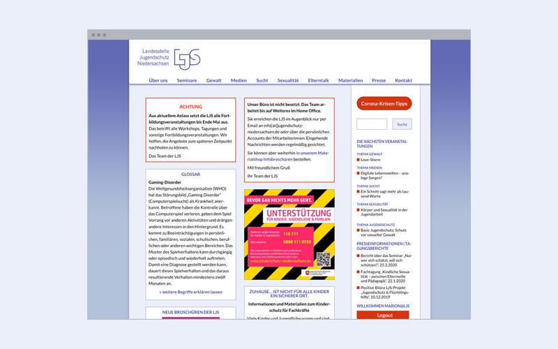 Unternehmens-Website: Jugendschutz-Organisation